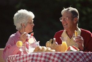 old couple breakfast